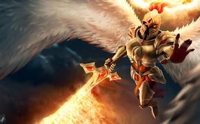 Картинка ангел, меч, воин, шлем, art, League of Legends, kayle, Judicator