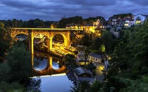 Картинка мост, отражение, река, Англия, здания, дома, ночной город, виадук, England, Северный Йоркшир, North Yorkshire, Knaresborough, …