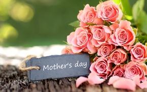 Картинка цветы, розовый, праздник, розы, букет, Mother's day