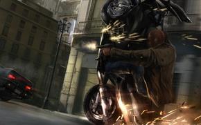 Обои мотоцикл, стрельба, искры, пистолет, погоня