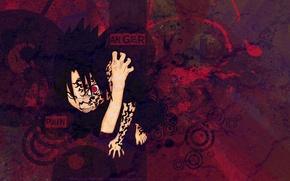 Картинка красный, злой, наруто, red, naruto, саске, sasuke, печать