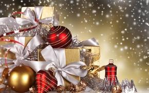 Картинка шарики, снег, ленты, шары, игрушки, Новый Год, Рождество, подарки, красные, золотые, коробки, елочные, новогодние