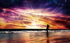 Обои красный, яркий, энергия, природа, море, абстракции, волны, полет, девушка, космос, пейзаж, закат