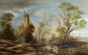 Картинка вода, природа, озеро, дом, дерево, животное, птица, лодка, забор, человек, болото, избушка, картина, арт, мельница, ...