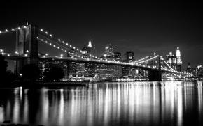 Картинка City, road, evening, Building, Brooklyn bridge, The bridge