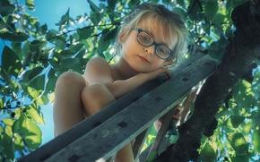 Картинка дерево, настроение, очки, лестница, девочка