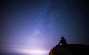 Картинка девушка, космос, звезды, ночь