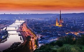 Картинка город, огни, вечер, Нормандия, Руан, Франци