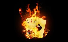 Картинка Огонь, Карты, Покер, Казино, Пламя, Тузы