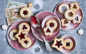 Картинка зима, печенье, Рождество, ложка, посуда, натюрморт, праздники, джем, печеньки