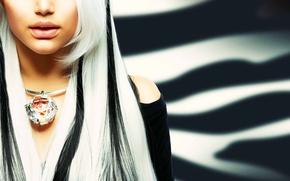 Картинка девушка, модель, блондинка, украшение, колье, Анна Субботина