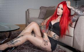 Обои руки, рыжая, Cervena Fox, tattoo, красная, татуировки, тело, огненная, girl, украшение, девушка, model, роспись, ноги