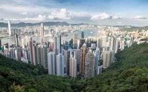 Картинка гора, небоскребы, Hong Kong, панорама, город, Victoria Peak