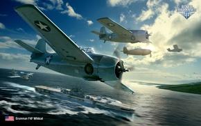 Картинка небо, США, Wargaming.net, World of Warplanes, Grumman F4F Wildcat