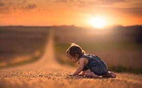 Картинка дорога, простор, девочка, ребёнок, боке
