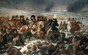 Картинка масло, картина, холст, «Наполеон в битве при Эйлау 9 февраля 1807 года», Антуан-Жан Гро, французский …