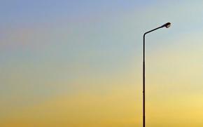 Картинка лето, небо, закат, настроение, минимализм, вечер, день, фонарь, фонарный столб
