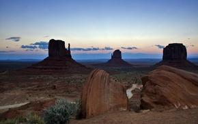 Картинка небо, облака, горы, скалы, вечер, США, долина монументов