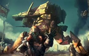Картинка оружие, дым, робот, солдат, броня, restricted area