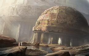 Картинка город, люди, здание, арт, руины, купол