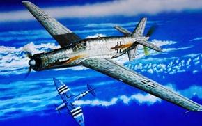Картинка fighter, war, art, airplane, painting, ww2, Do-335B-4