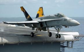 Картинка истребитель, взлет, Super Hornet, F-18, авианосец.