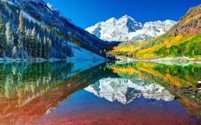 Картинка горы, Колорадо, отражения, снег, озеро, вода, небо, осень, лес, США