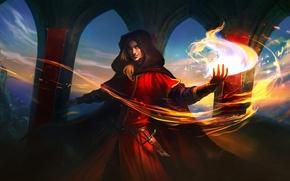 Картинка замок, огонь, магия, капюшон, маг, кинжал, арки, парень, плащ