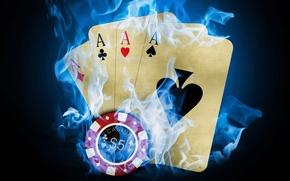 Обои карты, казино, покер, фишка, огонь