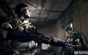 Картинка комната, солдат, пулемёт, Battlefield 4