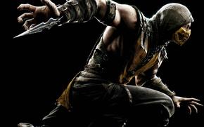 Картинка желтый, чёрный, лезвие, маска, капюшон, боец, Скорпион, ниндзя, Warner Bros. Interactive Entertainment, NINJA, Scorpio, NetherRealm …