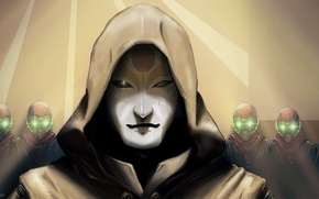 Картинка блеск, маска, арт, капюшон, The Legend of Korra, Chi Blockers, Amon