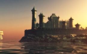 Картинка wall, sky, sea, castle, game of thrones, towers