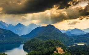 Картинка лес, пейзаж, горы, природа, замок, панорама, Germany, Schwangau