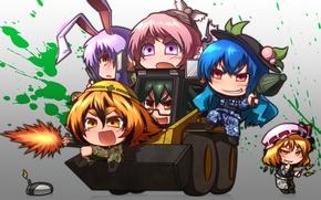 Картинка girl, gun, pistol, game, soldiers, weapon, anime, chibi, cross, Battlefield, crossover, Battlefield 3, rifle, Touhou, …