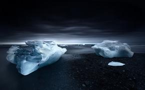 Картинка лед, море, берег, ice, льдина, сумерки, beach, Исландия, sky, sea, Iceland