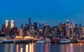 Картинка city, lights, USA, night, New York, reflection, skyscrapers