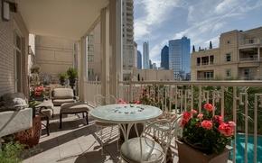 Обои дизайн, город, стиль, интерьер, балкон, мегаполис, терраса