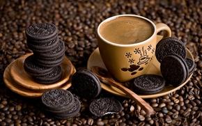 Картинка кофе, зерна, печенье, ложка, чашка, десерт, блюдце, шоколадное