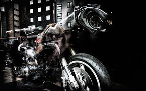 Обои мотоцикл, улица, абстракция