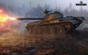Картинка грязь, т-54, World of Tanks, Wargaming.net, постріл