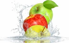 Картинка вода, брызги, яблоки