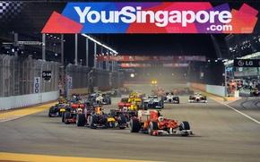 Картинка Фото, Огни, Ночь, Гонка, Renault, Ferrari, Трасса, 2010, Formula-1, Red Bull, Williams, Force India, Формула-1, …