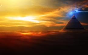 Картинка sky, Shuttle, pyramid, Spaсe