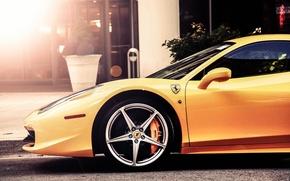 Картинка car, Ferrari, феррари, диски, 458, желтая, Italia