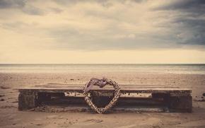 Картинка песок, море, пляж, вода, природа, река, сердце, лента, бант, сердечко, бантик, плетение, HD wallpapers, обои ...
