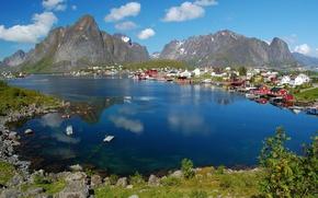 Картинка горы, природа, озеро, дома