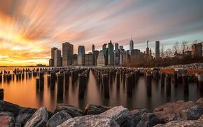Обои США, город, выдержка, небо, Нью Йорк