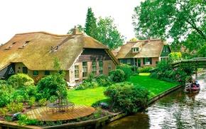 Картинка дома, Нидерланды, Голландия, водный канал, Giethoorn