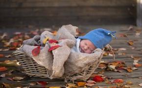 Картинка корзина, ребенок, сон, новорожденный